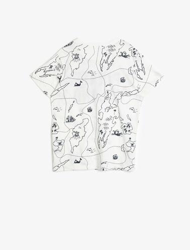 Koton Kids Baskili T-Shirt Ekru